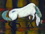 7 - Tea Preville, White Horse, 8x10, acrylic, 2014, $350