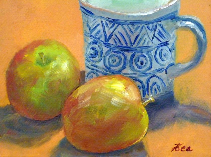 Alla Prima Apples & Blue Mug