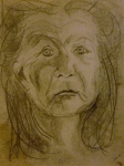 Tea Preville - 1985 - Self-portrait - charcoal