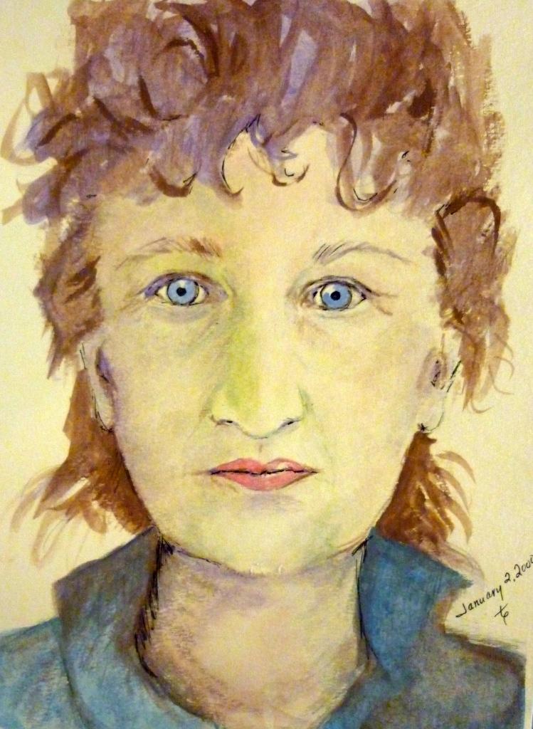 Tea Preville - 1998 - Self-Portrait - watercolour