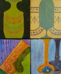 Tea Preville - 2003 - Abstracts Courtney Anderson Workshop - four panels - acrylic-cerra cola