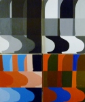 Tea Preville - 2003 - Abstracts Courtney Anderson Workshop - four panels - acrylic