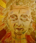 Tea Preville - 2003 - Art Therapy III - Self-Portrait - acrylic and gold leaf