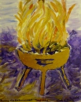 Tea Preville - 2003 - Art Therapy IV - Burning the Embarrassment- acrylic and gold leaf