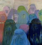 Tea Preville - 2003 - the Burkas - cerra cola 30x32 - six panels