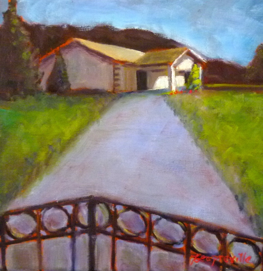 Preville, Tea -Kingdom Hall Salmo- oil on canvas, 12x12- 2015