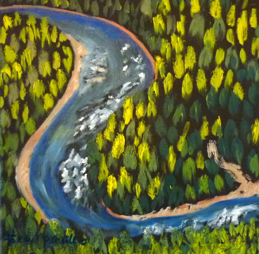 Preville, Tea -S-Curve Slocan River- oil on canvas, 12x12- 2015