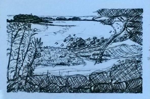 Tea Preville,Punta Mita II, ink on paper. 6x8. 2015